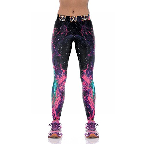 Slimming Girl Sexy Black Galaxy Print Workout High Waist Stretchy Tights Sport Leggings,Size S