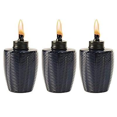 TIKI Brand 1118114 3-Pack 5.75 Inch Table Torch Glass Herringbone