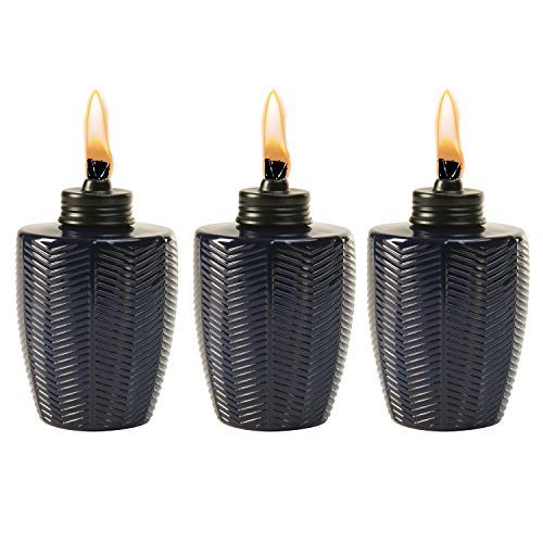 TIKI Brand Herringbone Blue Glass Tabletop Torch (Set of 3)