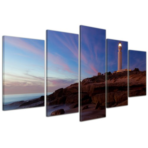 Bilderdepot24 Cuadros en Lienzo Faro de Trafalgar, Cadiz - 100x50 cm 5 Piezas - Enmarcado Listo Bastidor Imagen. Directamente Desde el Fabricante