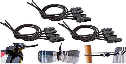 MAGMA 12 Tensores Elasticos, Cuerdas Elastica Sujetar Lonas, Toldos, Señal V20, Portabicicletas Longitud Ajustable Acampadas Camping FastClip 50cm