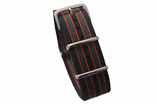 AquaNation - Watch Bands Straps - Choice of Color 20mm Premium Heavy Duty Durable Ballistic NATO Nylon James Bonds Style Replacement Watch Bands Straps (Black Red Green)
