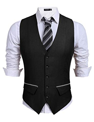 COOFANDY Men's Business Suit Vest,Slim Fit Skinny Wedding Waistcoat (Large, Black1)