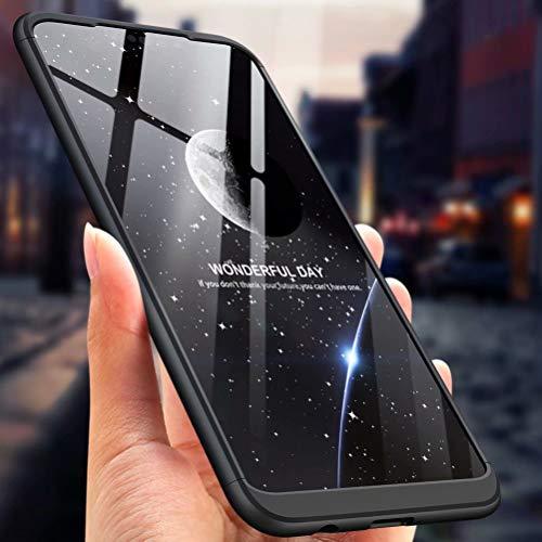 MISSDU kompatibel mit Premium Hart PC 360 Grad Hülle Huawei Nova 3i/ P Smart+ Hülle + Panzerglas,3 in1 Handytasche Handyhülle Schutzhülle Cover - Silber schwarz - 6