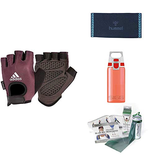 adidas Training & Fitness Kit Performance Handschuhe, Thera-Band Physioband Gymnastikband, Sigg Trinkflasche Rot, Hummel Handtüch Old School