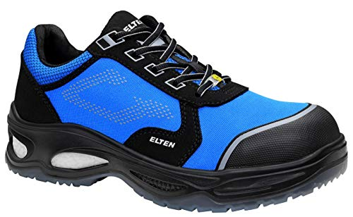 ELTEN Lennox Low ESD S2 - Zapatos de Seguridad para Hombre, Deportivos, Ligeros, Color Negro/Azul, Puntera de plástico, Talla 42