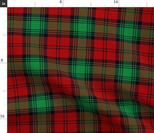 Spoonflower Fabric - Tartan Red Green Black Plaid Scottish Christmas Printed on Cotton Poplin Fabric by The Yard - Sewing Shirting Quilting Dresses Apparel Crafts