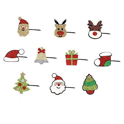 Hothap 10 stuks/set kerstboom eland hoed haarspelden vilt stof festival haarspelden decor (eerste foto)