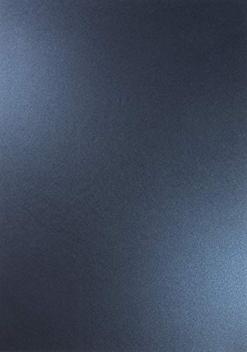 10 x Perlmutt-Dunkel-Blau 120g Papier DIN A4 210x297mm Majestic Kings Blue doppelseitig schimmernd Pearl-Karton Perl-Glanz Perlmutt-Papier Bastel-Karton metallic glänzend für Inkjet und Laser Drucker
