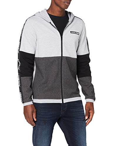 Jack & Jones JCOKALLY Sweat Zip Hood Pullover, Light Grey Melange/Detail:New Light Grey Melange/JJ Print, S Homme