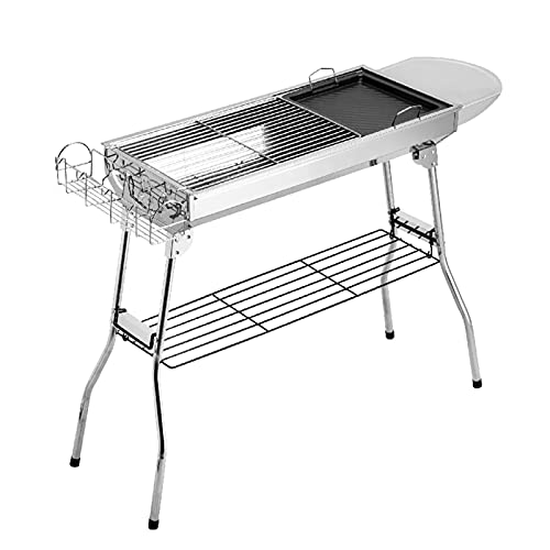 Grill Edelstahl Barbecue Grill Kohle im Freien 5 Personen oder mehr Grill Rack für Haushalts-Faltgeräte Full Barbecue-Box Grillwerkzeug (Color : Silver)