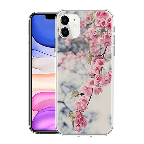 Pnakqil Hülle Kompatibel mit Samsung Galaxy A32 5G, Transparent Weiche Silikon TPU Superdünne Hülle mit Muster Motiv Handyhülle Stoßfest Schutzhülle Cover für Samsung A32 5G 6,5 Zoll, Marmorrosa Blume