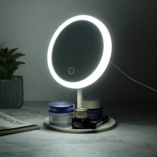 Specchio Dimmerabile 90 ° Rotazione LED Trucco Rimovibile Touch Screen Vanity comestico con luci per la casa di Viaggio (Color : White with LED)