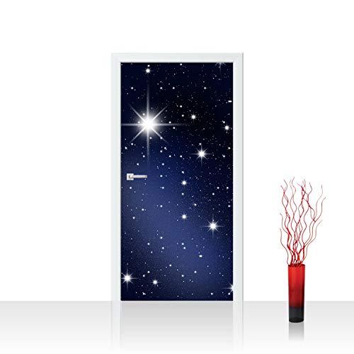 Tür Fototapete Türtapete 100x211 cm Türfolie selbstklebend o. Vlies PREMIUM PLUS - Tür Türposter Türpanel Foto Tapete Bild - Sternenhimmel Stars Sterne Leuchtsterne Nachthimmel - no. 028, Material:100x211cm Folie (selbstkl.)