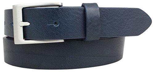 Brazil Lederwaren Gürtel aus Vollrindleder 3,5 cm | Anzug-Gürtel für Damen Herren 35mm | Chino-Gürtel mit massiver Schnalle | Marine 120cm