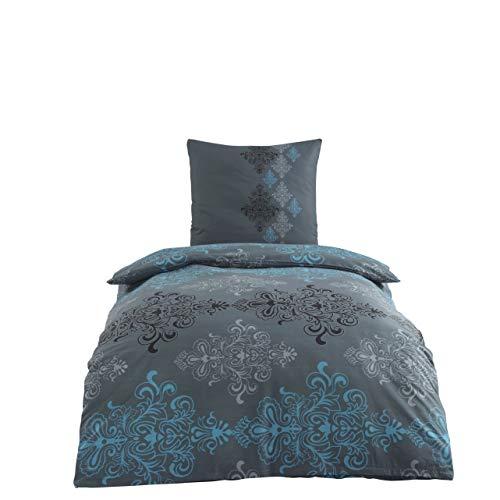 Class Home Collection 2 TLG Renforce Bettgarnitur Set | Bettdeckenbezug 155x220 cm | Kopfkissenbezug 80x80 cm | 2 teilig Bettwäsche | 100% Baumwolle Oeko-TEX | Bettbezug mit Reißverschluss | Aura