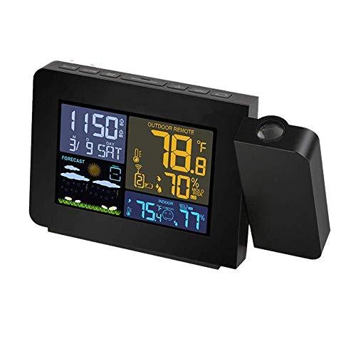 Lqfcjnb Projektionswecker for Schlafzimmer mit Innen- und Außentemperaturanzeige Dual Alarme Mehrfarbige Hintergrundbeleuchtung Projektionsuhr mit Wettervorhersage (UK-Stecker)