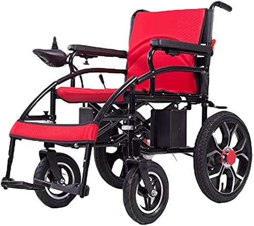 MENG Electric Wheelchair Waterproof Smart Rocker Four-Wheel Home Smart Scooter Lightweight and Small Folding Assisted Wheelchair for The Elderly and The Disabled,Red