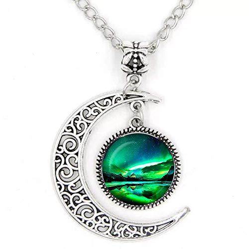 Grüne natürliche Nordlichter Foto Runde Halbmond Halskette Glas Cabochon Dome Schmuck Metall handgefertigt Anhänger