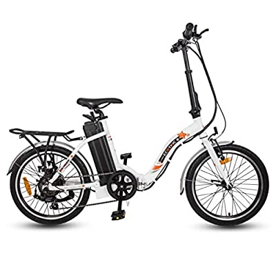 """ECOTRIC 20"""" Folding Bike Electric Bicycle City Bike 350W 36V/10AH Gear Rear Motor Removable Lithium Battery Pedal and Throttle Assist LED Display Alloy Frame (White)"""