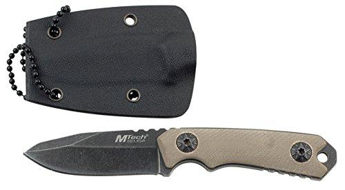 MTech USA Halsmesser MT-20-30 Serie, Messer G10 Griff, BEIGE EDC-Messer, Taschenmesser, Outdoormesser 5,08 cm ROSTFREI Feststehende Klinge für Outdoor/ Schmuckstück/  modisches Accessoire