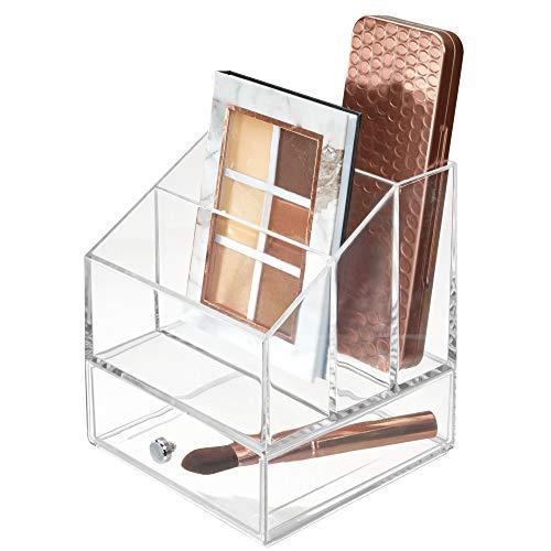 InterDesign Klarheit Kosmetische Palette Organizer mit Schublade für Vanity oder Schrank zu halten Make-up Beauty Produkte Haar Zubehör–3Fächer, transparent, schwarz, 4 Section