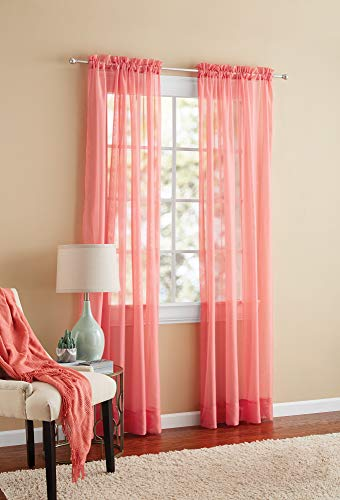 Mainstays Marjorie Sheer Voile Curtain Panel, 59x63 Coral Multi