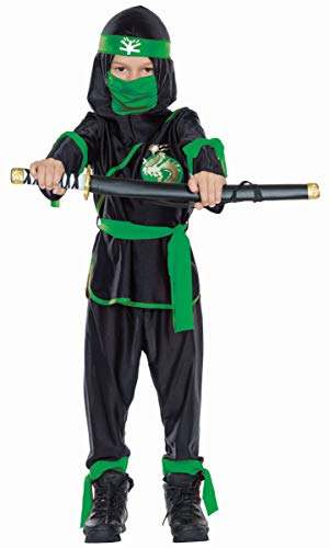 Mottoland Kinder Kostüm Ninja schwarz-grün Karneval Fasching Gr.164