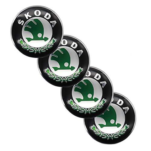 Tapacubos 4 unids 65mm Cajas de rueda de automóvil Caps Caps Emblem Pegatinas Capucha Tronco Etiqueta Etiqueta engomada LOGO ALUMINIO PARA ACCESORIOS DE COCHES DE LOGO DE SKODA-LOGO, Pegatinas de cubi