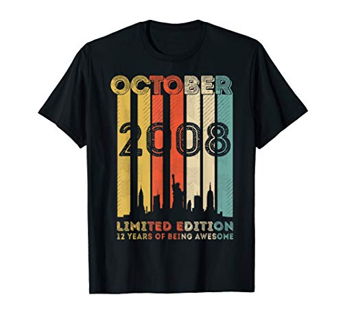 Vintage October 2008 Design 12 Years Old 12th Birthday Gifts T-Shirt