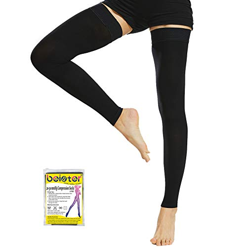 Beister Thigh High Footless Compression Sleeves with Silicone Band for Women & Men, Firm 20-30 mmHg Graduated Support