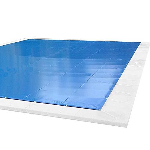 Cobertor, Lona, Cubierta, toldo,… Azul/Negro para Cubrir Piscina de 4,0 x 8,0 m Medidas totales del cobertor: 4,30 x 8,30 m Incluye: Cobertor, Anclajes 100% INOX, Tensores de 8 mm, Bolsa almacenaje