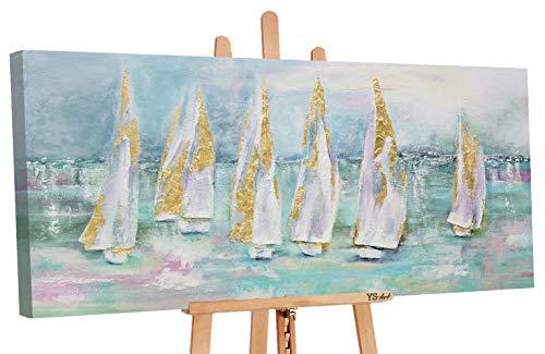 YS-Art Premium | Cuadro Acrílico Veleros | Pintado a Mano | Arte Moderno | Lienzo De Pared | único | Turquesa (160 x 80 cm)
