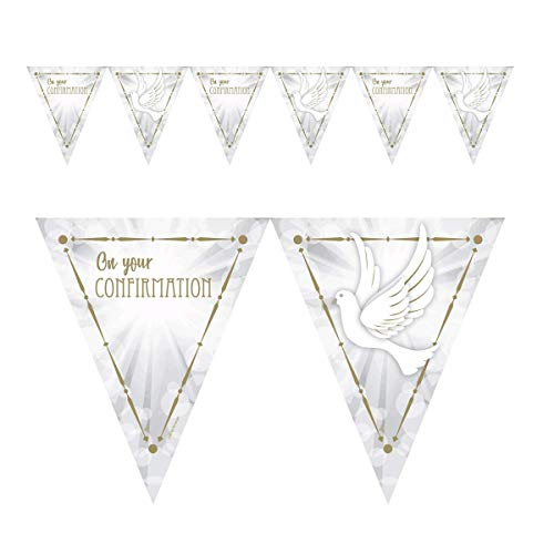 amscan 9904538 Confirmation Dove Pennant Banners 4m-1 Pc