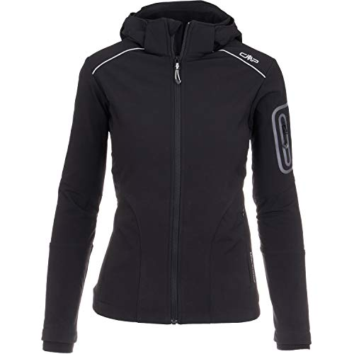 CMP Softshelljacken für Damen Softshell Jacke Fahrradjacke Fahrradregenjacke schwarz große Mädchen Funktions-Outdoor-Wandern-Jacke atmungsaktiv, Farbe:Black, Größe:42