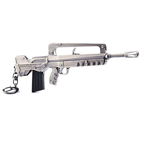 Llavero de metal para juegos de 1/6 de Famas, diseño de rifle de asalto, modelo de acción