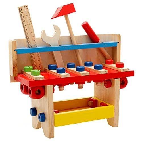 Madera Herramientas de Juguetes para Niños, Banco de Trabajo de Madera Montessori Juguetes Educativos Regalos para Niños Niñas 3 4 5 6 Años