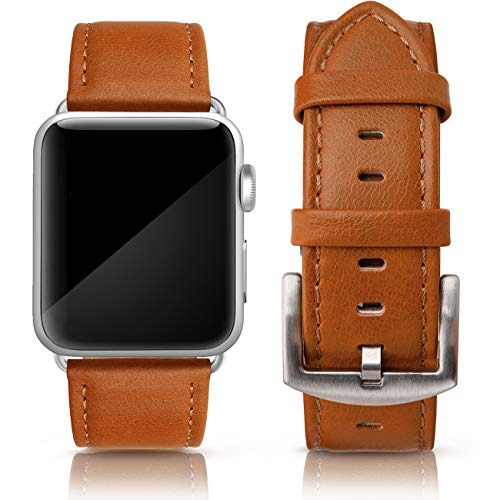 SWEES Leather Band Compatible for iWatch 42mm 44mm, Genuine Leather Retro Vintage Wristband Compatible iWatch Series 5, Series 4, Series 3, Series 2, Series 1, Sports & Edition Men, Tangerine