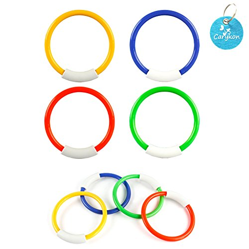 Carykon 8 Pcs Dive Rings Underwater Swimming Pool Toy Rings-5 1/2 Inch Diameter