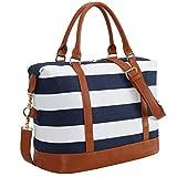 CAMTOP Women Ladies Weekender Travel Bag Canvas Overnight Carry-on Duffel Luggage Tote Bag (Big Stripe - Blue)