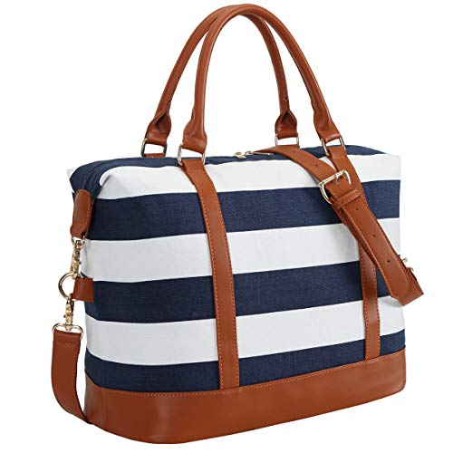 CAMTOP Women Ladies Weekender Travel Bag Canvas Overnight Carry-on Duffel Luggage Tote Bag (Big Stripe - Blue)