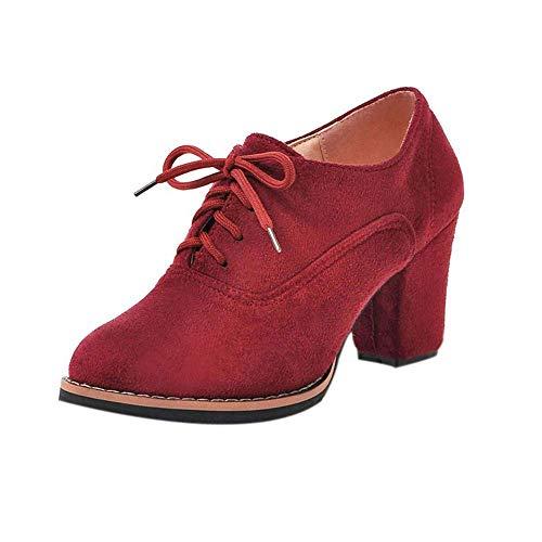 Ronde neus Damesschoenen Solid Lace-Up hoge dikke Plein Flock enkellaarsjes slippers (Color : Red, Size : 5 UK)