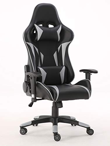 Requena Sport Desk Chair Adjustable Office Gaming Racing Chair Lumbar and Head Pillow Chair X3577 (Grey)