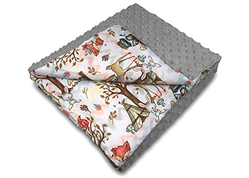 Balbina Manta infantil (75 x 100 cm, doble cara Minky + 100% algodón, con relleno), color gris