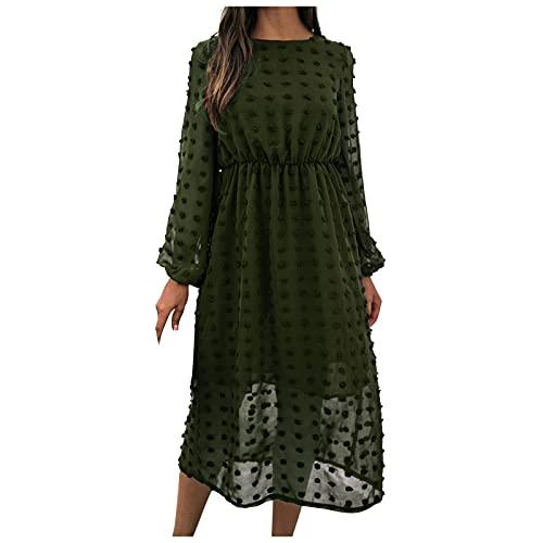 Hailmkont Vestido largo para mujer, moderno, de un solo color, jacquard con bolas para el pelo, informal, cuello redondo, manga larga, blusa Midi para otoño e invierno, Verde militar., XL