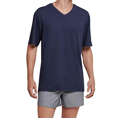 Seidensticker Herren Anzug-Kurz Zweiteiliger Schlafanzug, Blau (Blue Navy 815), Large (Herstellergröße: 052)