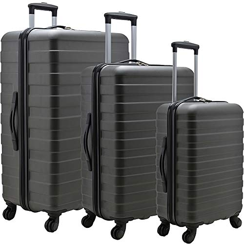 U.S. Traveler Cypress Colorful Hardside Spinner Luggage Set, Charcoal, 3-Piece