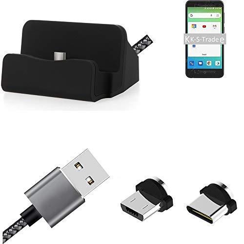 K-S-Trade Base Et Soporte De Charga Chargador Estacion HTC One X10 Conexión Magnética con Un Conector USB Tipo C Y Un Conector Micro USB 3A, 1x