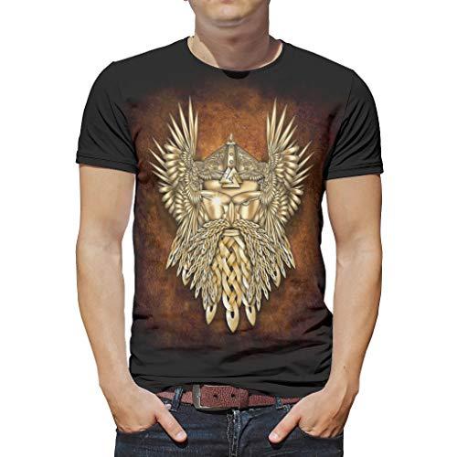 Viking Odin - Camiseta de manga corta para hombre, poliéster, diseño casual