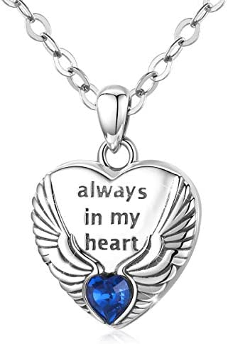 Angel Wing Heart Locket Necklace for Women That Holds Pictures 925 Sterling Silver Wings Lockets product image